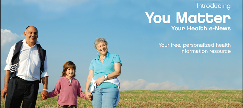 Grandparents with their granddaughter in a field.  Indroducing You Matter Your Health e-News Your free, personalized health information resource